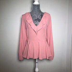 Lulu's Pink Peplum Blouse